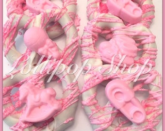 12 baby shower Chocolate covered pretzels (Baby shower favors, babygirl favors, baby shower chocolate)