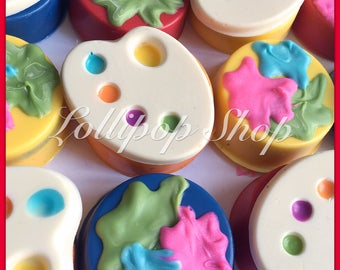 12 Paint Chocolate Covered Oreos (Birthday, paint party, color me, paint party favors, party favors)