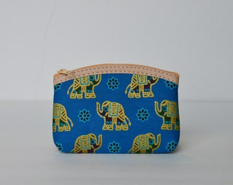 Blue and Gold Elephant coin purse