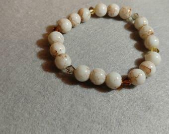 Elegant Glass Bead and Crystal Bracelet