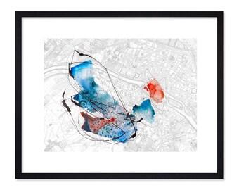 Map of Paris - Map Art - Watercolor Prints - Watercolor Paintings - Bird - Home Decor