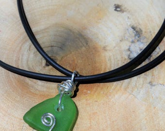 Seaglass wire wrapped pendant