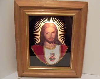 Light Up Jesus Picture Folk Art Paper and Fabric Kitsch