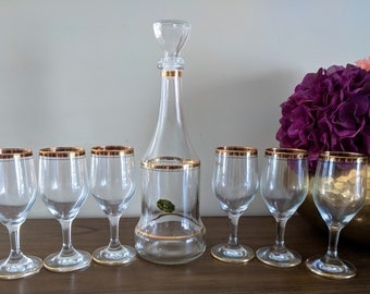 Vintage Decanter and 6 Stem Glasses by Decor Cristallerie | Mid Century Bar | Gold and Black | Gold Rim