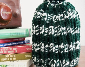 Handmade Knit Green and White Wool Hat