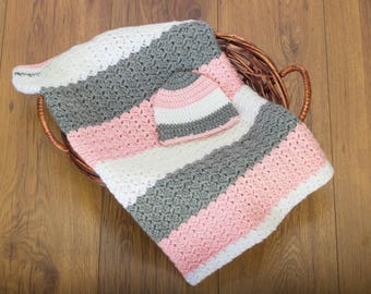 Crochet Baby Blanket and Hat Set, Pink Gray and White Blanket, Baby Girl Blanket Gift Set