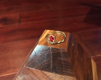 Ruby rose gold vine band size 7