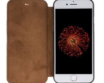 Hand Painted Vegetable Tanned Genuine Leather Slim Book Case for Apple iPhone 7 / iPhone 8