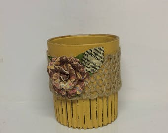 Repurposed glass indoor plant pot, repurposed kitchen glass planter,distressed succulent/bamboo/small plant planter,yellow  painted planter