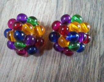 Colorful Clip On Earrings Colorful Earrings Bead Cluster Earrings Beaded Earrings Beaded Clip On Earrings Vintage Clip On Earrings