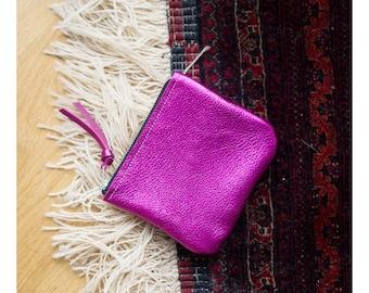 pink  leather clutch, evening bag , clutch handbag
