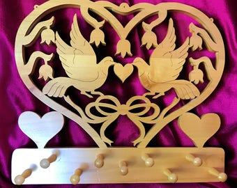 Hand Crafted, Wooden Lovebird Jewelry Hanger, Gift Idea, Wedding, Bridal Shower, Anniversary, Birthday, Home Decor