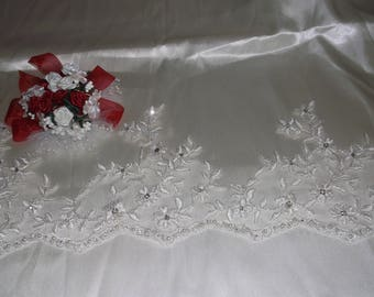 Ivory Silver/Rhinestone Beaded Flower Lace