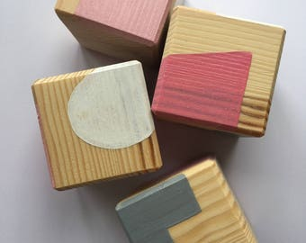 4 pine childrens stacking puzzle blocks // homemade // personalised // first blocks // for toddlers // building blocks // nursery