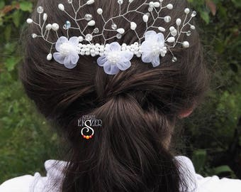 White hairpin, Wedding hair comb, First communion hairpin, Hair-slide, Bride Jewelry, Bride Hair Comb