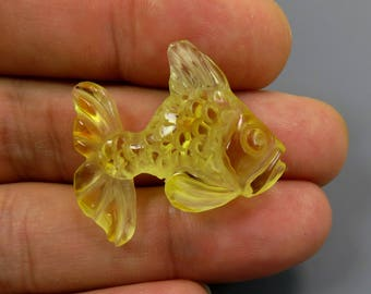 Exclusive 2.00 grams Lemon Natural Genuine BALTIC AMBER Sculpture Hand carved Figurine FISH