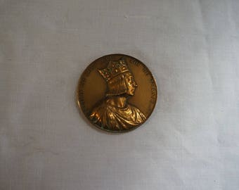 Bronze medal LOUIS IX says St. Louis King of France