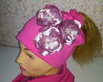 flowers hat with neck warmer