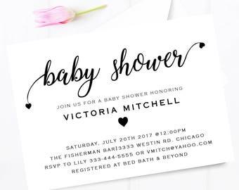 Baby shower invitation, modern heart baby shower invite, signature styled elegance, Baby shower invitation, simple baby shower invitation