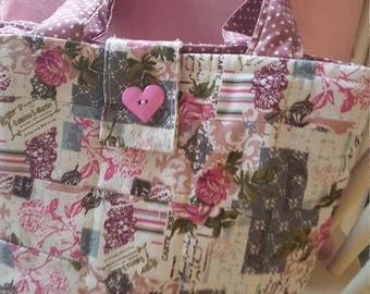 Quilted Floral Print Tote Bag, shopping bag, beach bag