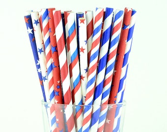 4th of July Paper Straw Mix, Striped And Star Mix Straws, Holiday Straws, Party Decor, Cake Pop Sticks, Party Supplies, Mason Jar Straws
