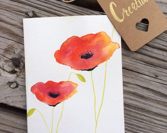 Watercolor poppy series card #7