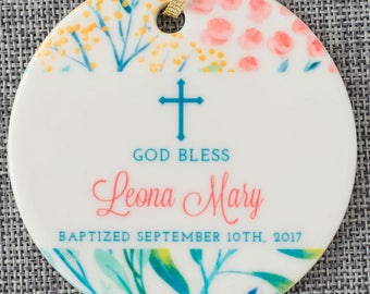 Personalized Baptism Gift For Goddaughter Girl Baptism Ornament Gift From Godparent Personalized Christening Gift Girl Christmas Ornament