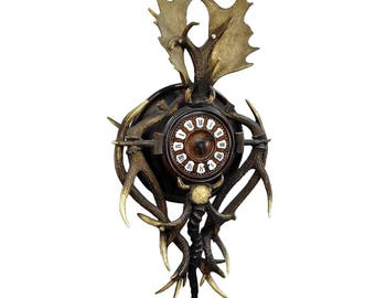 antique cabin antler wall clock from austria ca. 1900
