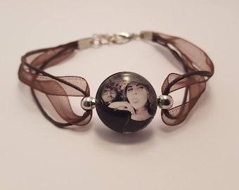 Chocolate button pressure, custom photo bracelet, cabochon