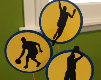 Basketball party, Basketball decorations, Golden State Warriors Birthday Party,  Basketball centerpieces
