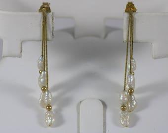 14k Yellow Gold 6x2mm Baroque Pearl Dangle Butterfly Post Earrings 1.8g