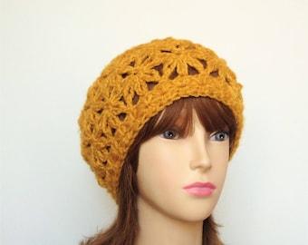 Mustard yellow lace openwork Hat handmade crochet