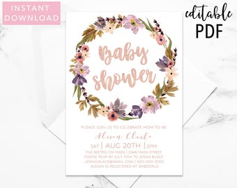 Boho Baby Shower Invitation, Baby Shower, Baby Shower Invite, Invitation Template, Printable Invitation, Floral Baby Shower, Gender Neutral