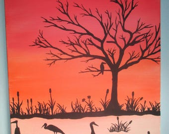 Birds at Sunset - Original 16 x 20 Acrylic Painting on Stretched Canvas