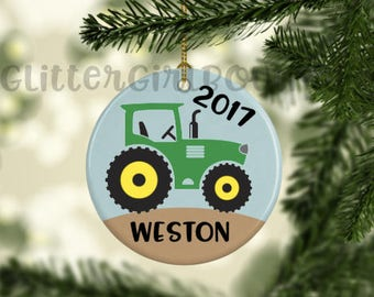 Tractor Ornament, Custom Ornament, Personalized Ornament, Boy Ornament, Porcelain Ornament, Ornament | Ornament for Little Boy