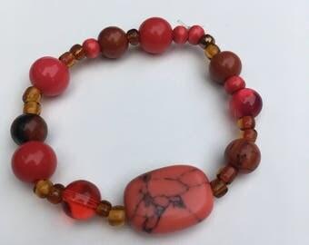 Red/Fire bead bracelet