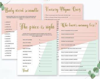 Modern Baby Shower Games Set, Pink Mint and Gold Baby Shower Kit for Girls, Mint Pink and Gold, Who Knows Mommy Best Card Price is Right GP1