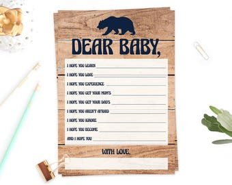 Wishes for Baby Boy, Baby Wishes Shower Games Printable, Instant Downloads, Baby Bear Baby Shower Game Cards, Baby Shower Keepsake PDF, BBL