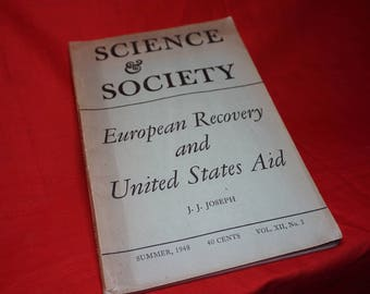 1948 Science & Society: European Recovery and United States Aid, Vintage History Book, World War 2
