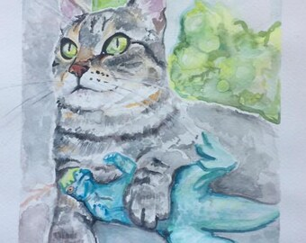 "Custom Watercolor Pet Portrait, 8x10"""