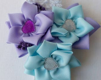 Beautiful Blue Ribbon Flower Hair Accessories Baby Flower Hair band