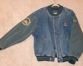Vintage Jean Jacket Bomber with Olympic Rings 1996