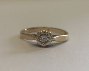 9ct Gold Diamond Solitaire Ring With Simple Gold Band, Solitaire Engagement Ring