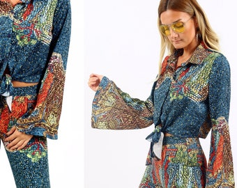 Blue Ocean '70s Tie Front Satin Button Down Long Flare Sleeve Shirt Top
