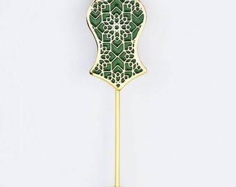 Green/Gold Hijab Stick Pin