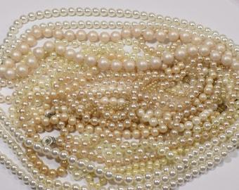 large lot of faux pearl necklaces repurpose repair recycle