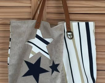 Beige and blue linen tote bag