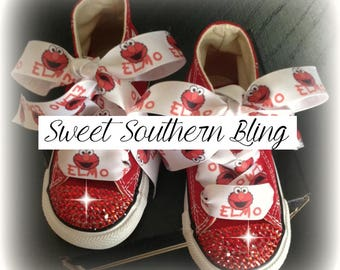 Elmo theme Red BLING Converse