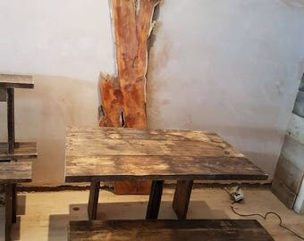 vintage handmade rustic up-cycled scaffold dining table with two matching benches