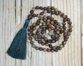 Chohua Jasper Mala Bead Necklace, Mens Mala Necklace, Mens Mala Beads, Japa Mala, Yoga Mala Beads, Meditation Beads, Boho Mala, 108 Mala